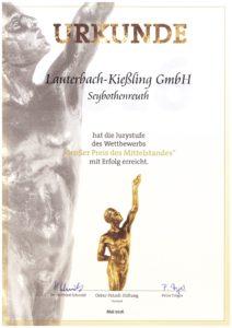 """Die Lauterbach-Kießling GmbH freut sich über die Urkunde """"Großer Preis des Mittelstandes""""!"""