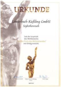 """Die Lauterbach-Kießling GmbH freut sich über die mittlerweile 7. Auszeichung """"Großer Preis des Mittelstandes"""""""