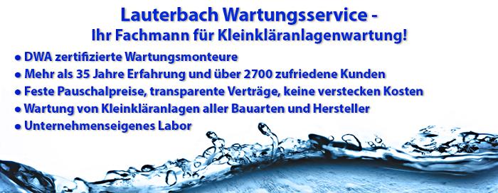 Wir empfehlen für die Wartung von Kleinkläranlagen unseren Partner vom Lauterbach Wartungsservice!