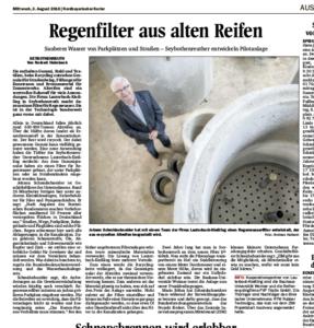 """Der Artikel """"Regenfilter aus alten Reifen"""" im Nordbayerischen Kurier vom 3.8.2016"""