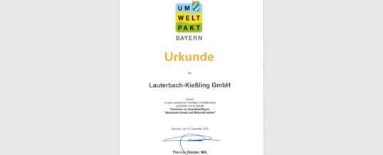 Umwelt-Urkunde für Lauterbach Kießling